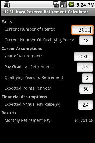 Retirement Calculator: Military Reserve Retirement Calculator Navy